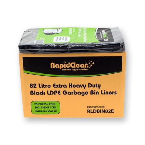 BINLINER 82ltr Extra H/Duty BLACK 200/ct