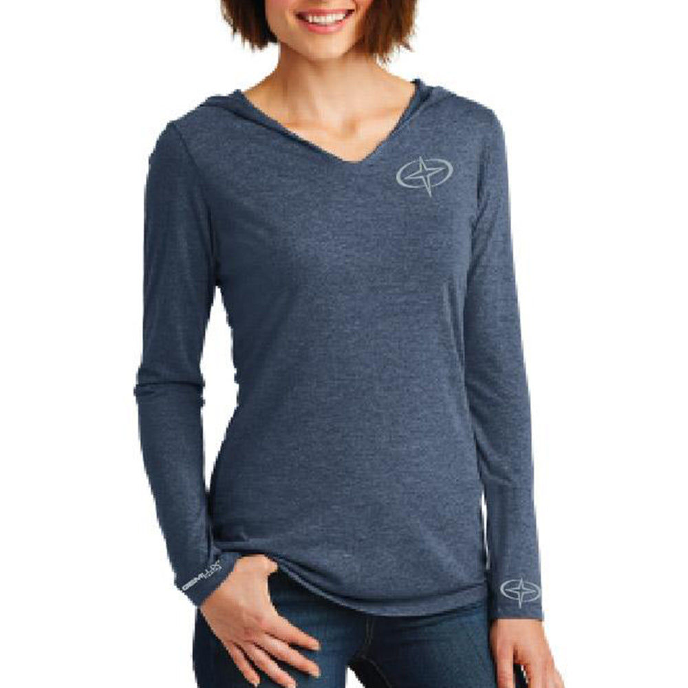 Women's Blue Long Sleeve Hooded Star Shirt