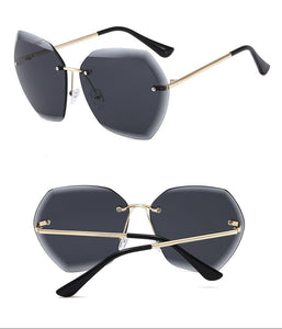 Women Oversized Rimless Sunglasses