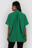 Evie tie neck top in green