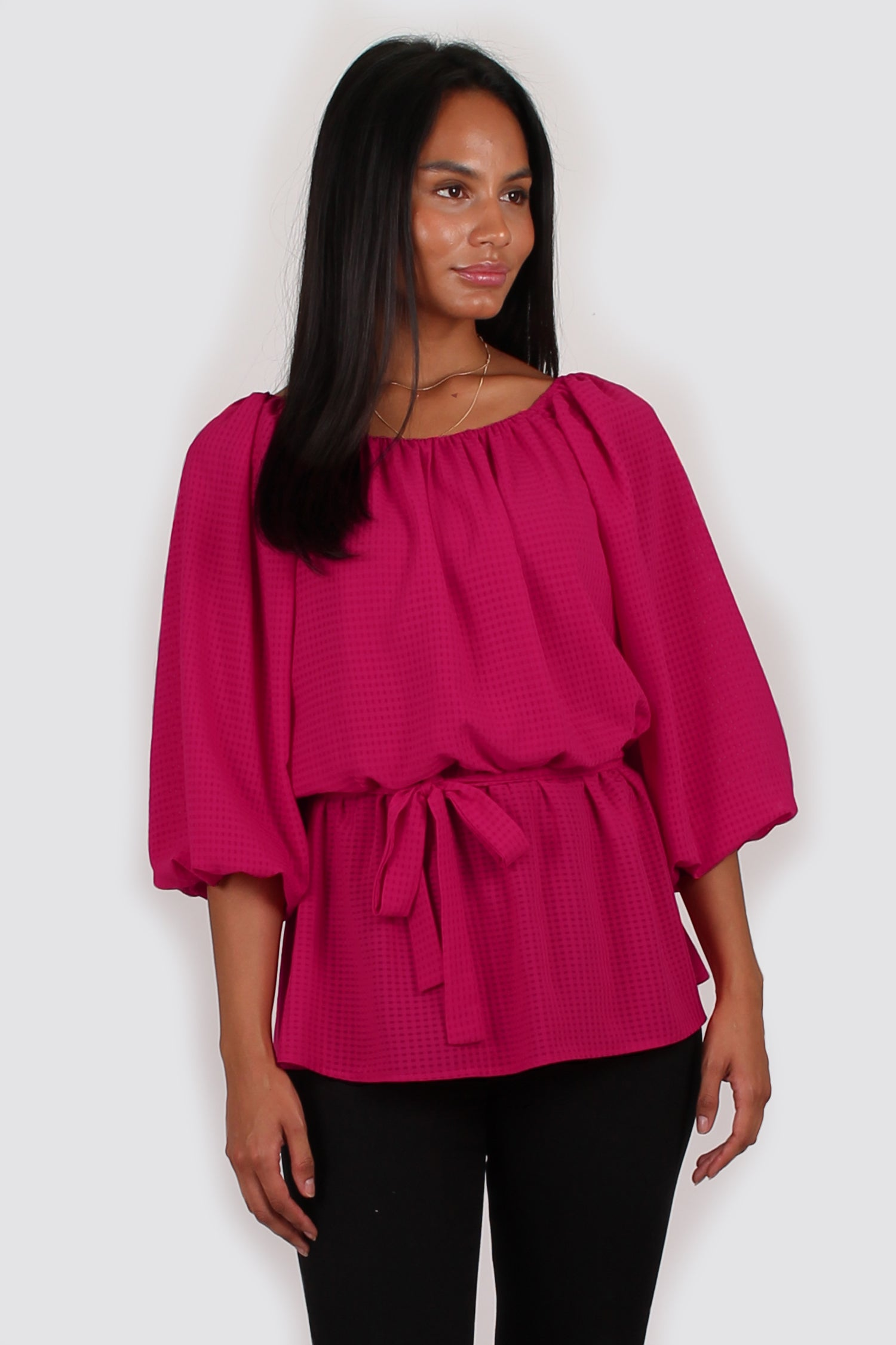 Mara three quarter sleeve top fuchsia pink