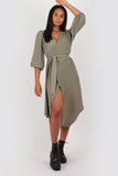 Amelia wrap dress in khaki