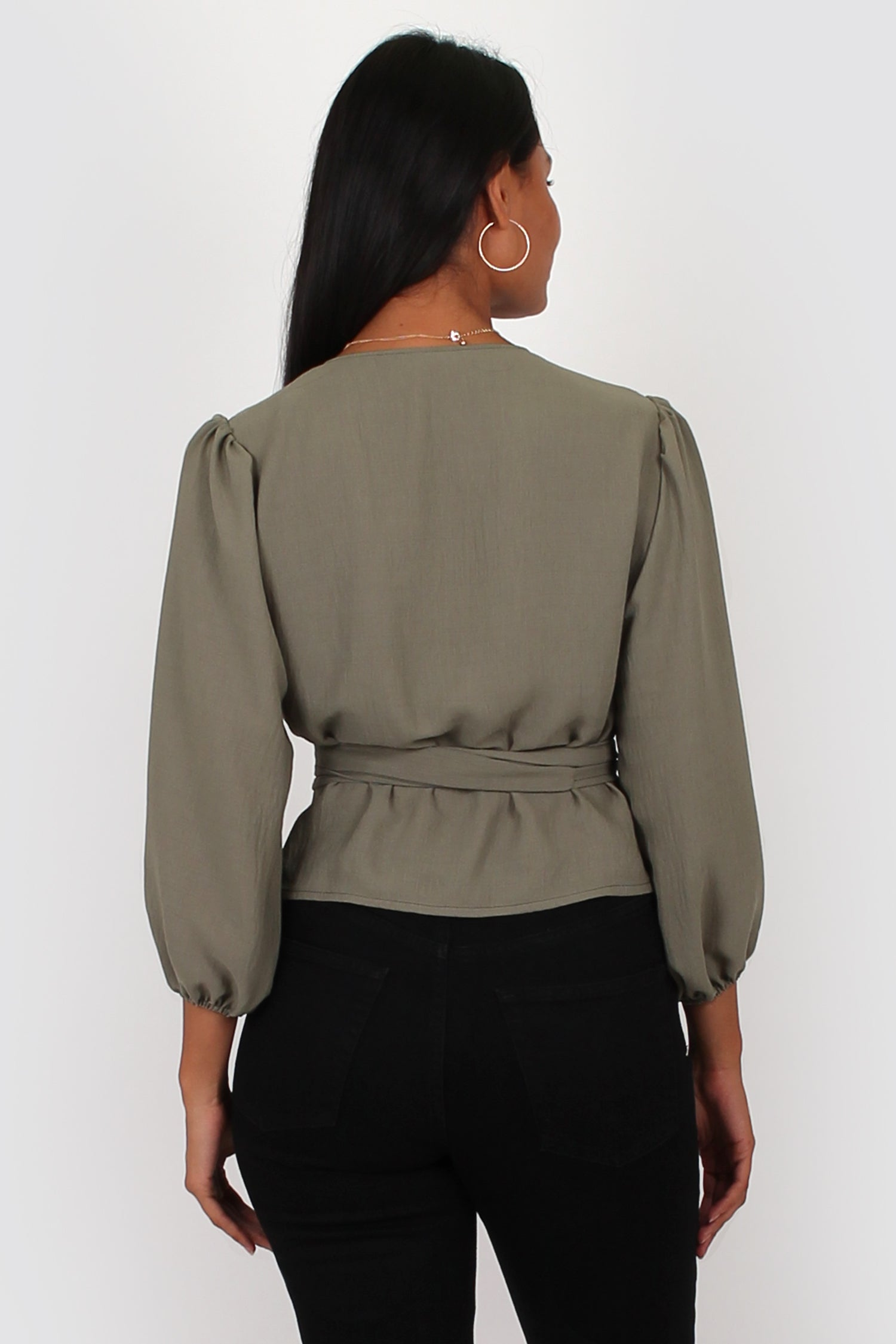 Amelia wrap top in khaki
