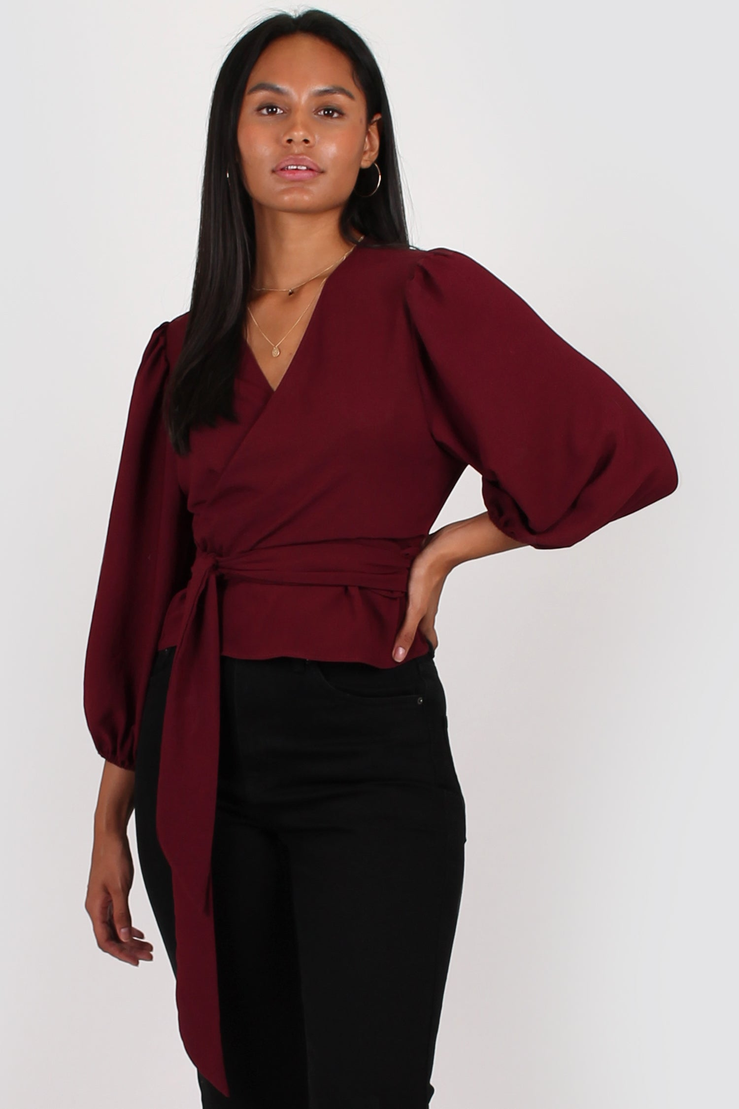 Amelia wrap top in wine