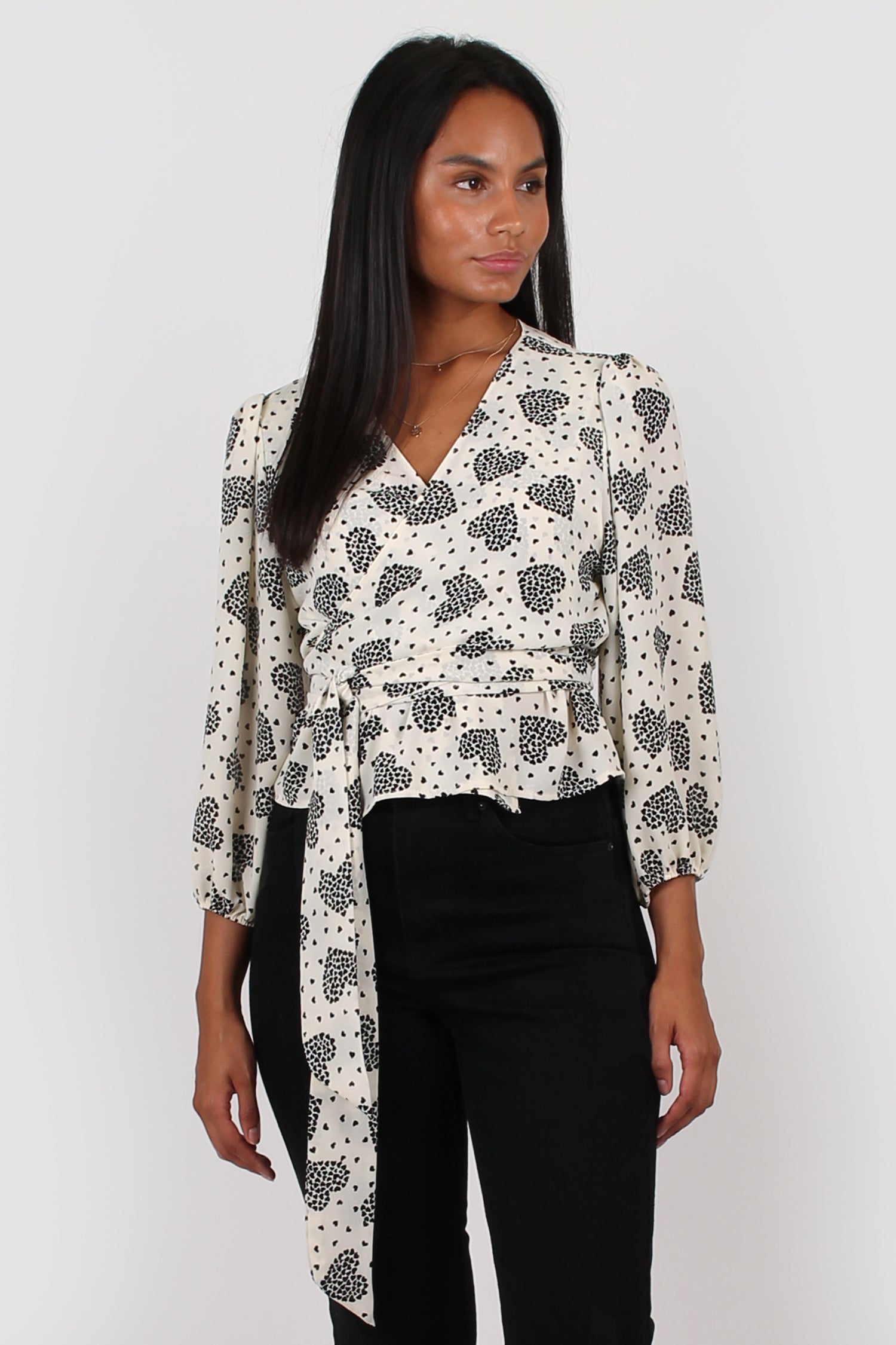 Amelia wrap top in love heart print