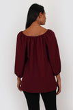 Esme three quarter sleeve top in wine
