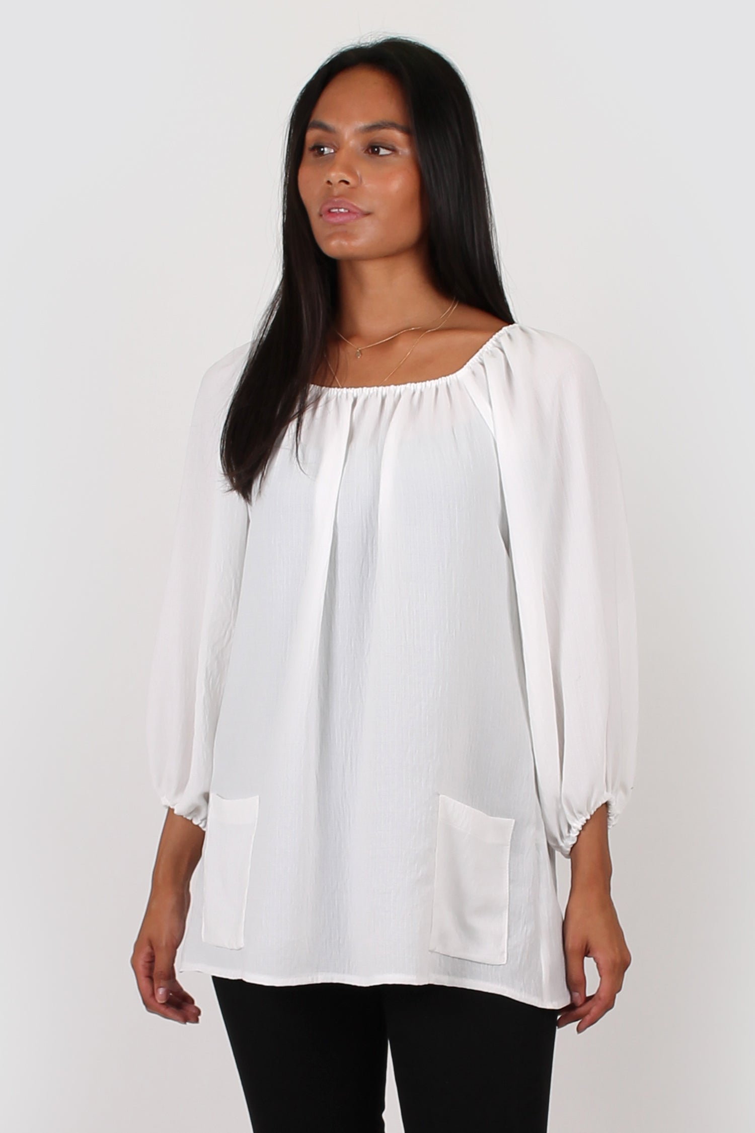 Esme three quarter sleeve top white