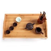 Load image into Gallery viewer, Bamboo 2 in 1 Food Serving Tray Tea Table with Retractable Stand Wood Color