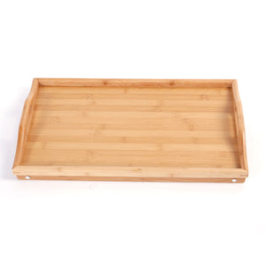 Bamboo 2 in 1 Food Serving Tray Tea Table with Retractable Stand Wood Color