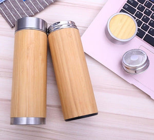 Double Walled 150z Bamboo Tumbler with Tea Strainer | Insulated BPA Free Bottle by Kayamoto.Shop