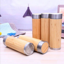 Load image into Gallery viewer, Double Walled 150z Bamboo Tumbler with Tea Strainer | Insulated BPA Free Bottle by Kayamoto.Shop