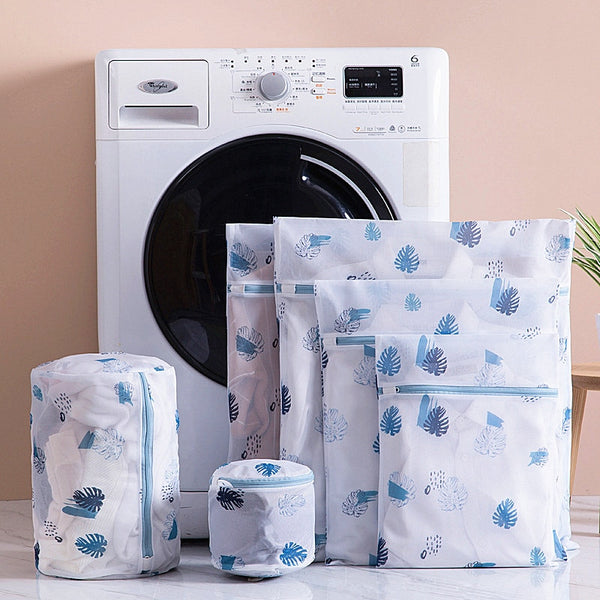 6-Pc Laundry Mesh Bag Set - Blue Leaf