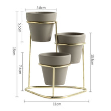 Load image into Gallery viewer, 3-Tiered Iron Frame Ceramic Planter