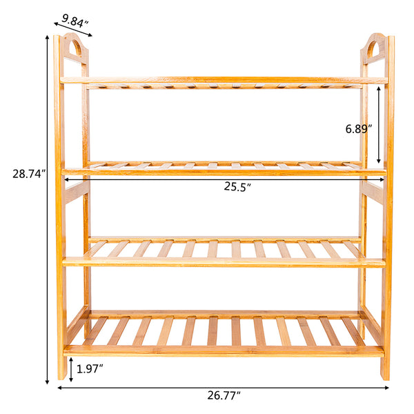 4 Tiers Bamboo Shoe Rack Wood Color