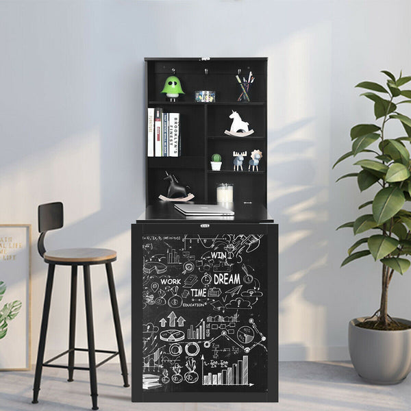 Space Saver Convertible Wall Mounted Organizer & Desk with Chalkboard - Black