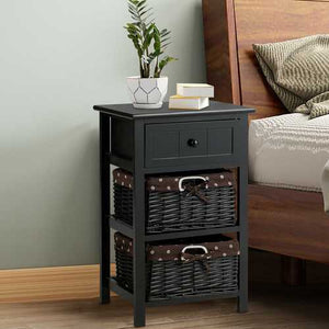 3-Layer 1-Drawer End Table | Night Stand with 2 Wicker Baskets - Black