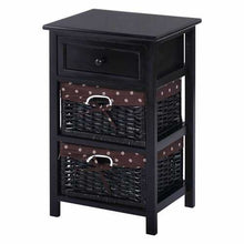 Load image into Gallery viewer, 3-Tier 1-Drawer  End Table | Night Stand with 2 Wicker Baskets - Set of 2 in Black