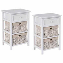 Load image into Gallery viewer, 3-Tier 1-Drawer  End Table | Night Stand with 2 Wicker Baskets - Set of 2 in White