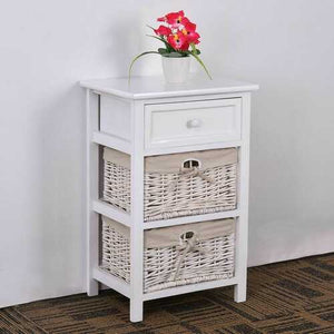 3-Tier 1-Drawer  End Table | Night Stand with 2 Wicker Baskets - Set of 2 in White