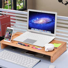 Load image into Gallery viewer, Bamboo Desktop Monitor Riser | Laptop Stand with Organizer