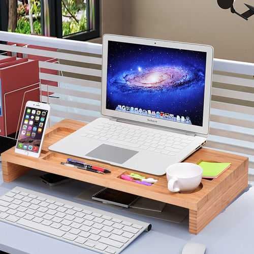 Bamboo Desktop Monitor Riser | Laptop Stand with Organizer