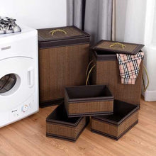 Load image into Gallery viewer, 5-Piece Square Bamboo Hamper | Laundry Basket | Storage Bin