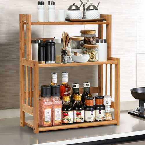 3-Tier Bamboo Spice Rack with Adjustable Shelf