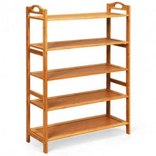 Load image into Gallery viewer, 5-Tier Bamboo Free Standing Shoe Rack