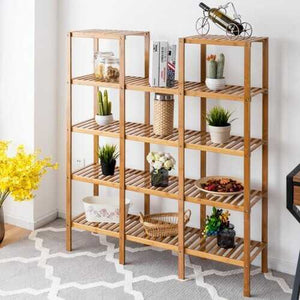 5-Tier Multifunctional Bamboo Plant Shelf | Flower Display Stand