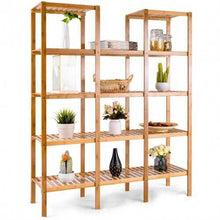 Load image into Gallery viewer, 5-Tier Multifunctional Bamboo Plant Shelf | Flower Display Stand