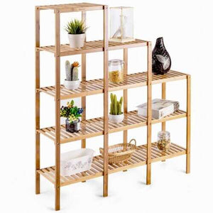 Multifunctional Bamboo Shelf Display Organizer