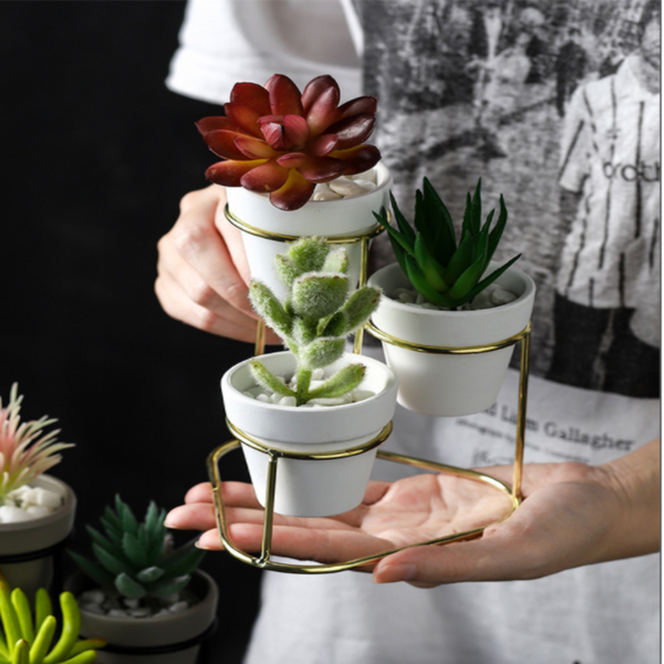 3-Tiered Iron Frame Ceramic Planter