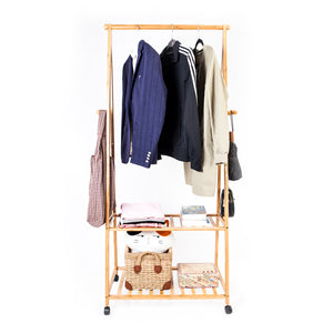 2-Layer Portable Storage Clothes Hanger with Wheel