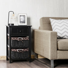 Load image into Gallery viewer, 3-Layer 1-Drawer End Table | Night Stand with 2 Wicker Baskets - Black
