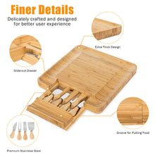 Load image into Gallery viewer, Bamboo Cheese Board & Knife Set  with Slide-Out Drawer
