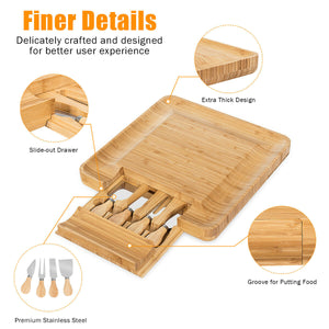Bamboo Cheese Board & Knife Set  with Slide-Out Drawer