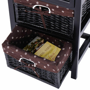 3-Tier 1-Drawer  End Table | Night Stand with 2 Wicker Baskets - Set of 2 in Black