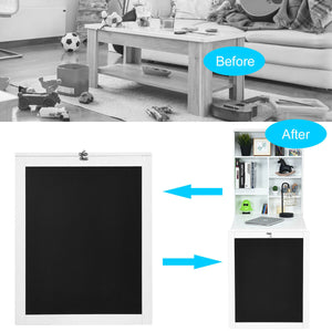 Space Saver Convertible Wall Mounted Organizer & Desk with Chalkboard - White