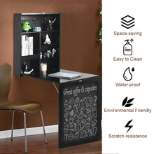 Load image into Gallery viewer, Space Saver Convertible Wall Mounted Organizer & Desk with Chalkboard - Black