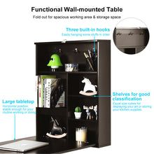 Load image into Gallery viewer, Space Saver Convertible Wall Mounted Organizer & Desk with Chalkboard - Coffee