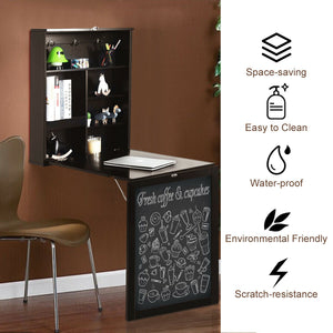 Space Saver Convertible Wall Mounted Organizer & Desk with Chalkboard - Coffee