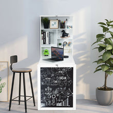 Load image into Gallery viewer, Space Saver Convertible Wall Mounted Organizer & Desk with Chalkboard - White