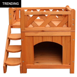 Pet Wooden Dog Cat House Kennel with Balcony