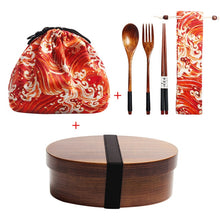 Load image into Gallery viewer, Wooden Bento Lunch Box with Compartments |  1-Layer Sushi Container with Utensils and Storage Bags