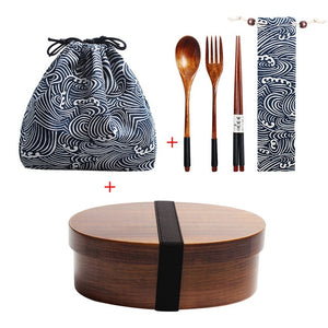 Wooden Bento Lunch Box with Compartments |  1-Layer Sushi Container with Utensils and Storage Bags
