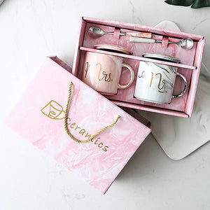 Luxury Pink/Gray Gold Mr & Mrs Ceramic Marble Coffee Mug