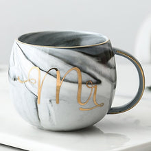 Load image into Gallery viewer, Luxury Pink/Gray Gold Mr & Mrs Ceramic Marble Coffee Mug