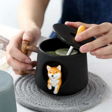 Load image into Gallery viewer, Ceramic 3D Corgi French Bulldog Coffee Mug with Lid and Spoon