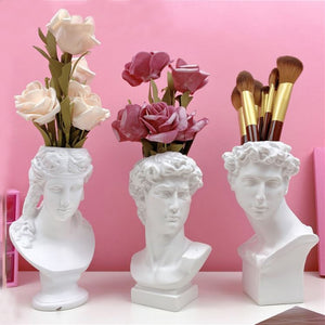 19cm Resin Flower Vase Brush Storage European Decoration Sculptures