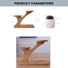 Load image into Gallery viewer, 3-Tier Bamboo Tree Stand with Owl-Shaped Succulent Planters